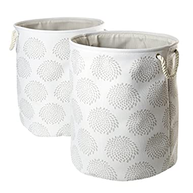Seville Classics Large Round Fabric Laundry Hamper, Set of 2, Blooming Floral Print