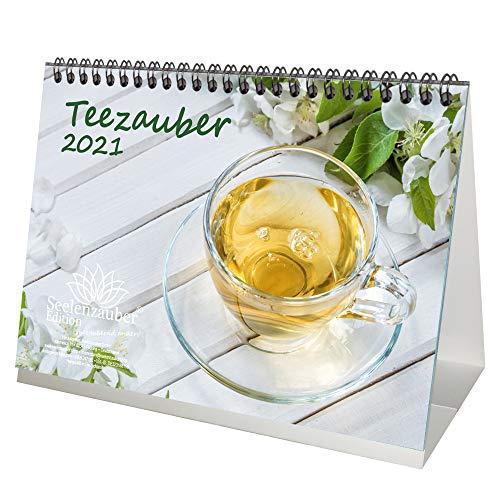 Teezauber DIN A5 Tischkalender für 2021 Tee - Geschenkset Inhalt: 1x Kalender, 1x Weihnachts- und 1x Grußkarte (insgesamt 3 Teile)
