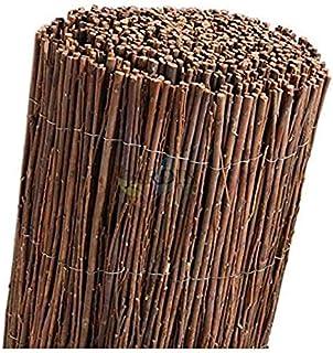 Suinga Clôture en osier naturel BREZO 1,5 x 5 m pour la dissimulation, le parasol ou la délimitation de votre jardin, marron