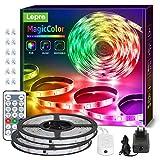 Lepro 15M Tira LED RGB Música, Tira Luz MagicColor, Tira luz música con control remoto, Tira LED Dreamcolor Impermeable IP65, Cadena luz cambia de color, Luz tira para decoración de fiestas navideñas