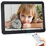 ACTITOP - Marco de fotos digital de 8 pulgadas (16:9) 1280 x 800 con pantalla IPS, fotografía, música, reproductor de vídeo, alarma, soporte USB y tarjeta SD, control remoto