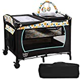 BABY JOY 4 in 1 Nursery Center, Portable Pack and Play with Bassinet, Changing Table, Cradle, Wheels and Brakes, Cute Toys, Oxford Bag (Blue)