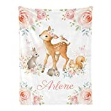 Deer Bunny Floral Pink Woodland Personalized Receiving Baby Blankets for Girls Boys with Name,Customized Swaddle Blankets Gift for Newborn Crib Infants 30x40 Inches