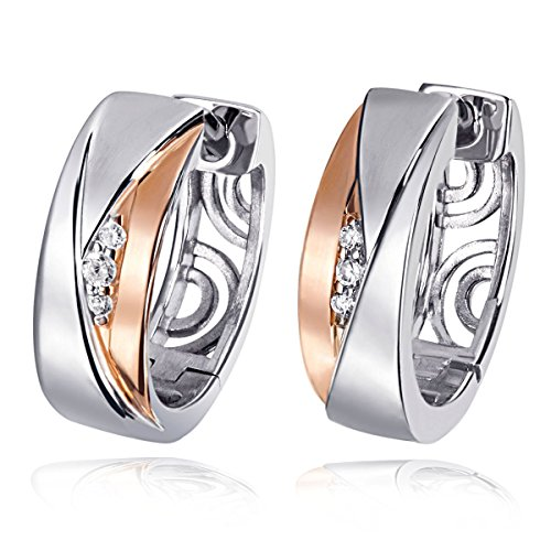 Goldmaid Damen-Creolen Red Eye 925 Sterlingsilber Rosegold vergoldet Bicolor 6 Zirkonia