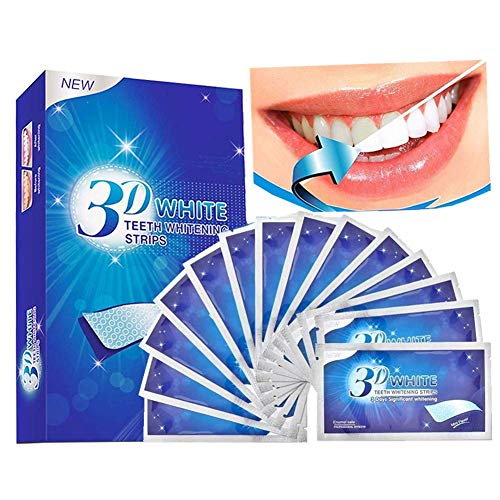 White Strips, 28pcs Bleaching-Strips zur Zahnaufhellung, 3D Zahnaufhellung für Weißere Zähne Zahnweiß Streifen mit Minzgeschmack Teeth Whitening Zahn