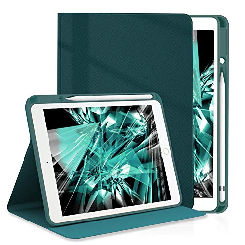 Wonzir New iPad 10.2-8th/7th (2020/2019 Model) Generation Case with Pencil Holder/iPad Air 3 case/ipad Pro 10.5 Case -with Auto Sleep/Wake Feature (ipad 10.2 inch/10.5 inch, Midnight Green)