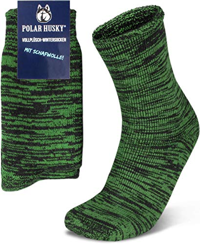 Socken mit Vollfrotteepolsterung & Schafwolle - SUPER WARM Gr.35-50 wählbar Farbe Grün/Schwarz Größe 2 Paar 43-46