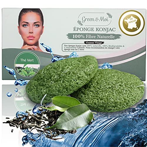 Eponge konjac visage Thé Vert végétale exfoliante - Nettoie les pores en profondeur - Lot de 2 pcs - Démaquillant naturel et écologique réutilisable - Contre la peau grasse et l'acné - Douche et bain