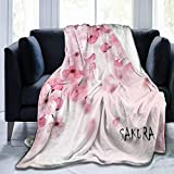 Delerain Beautiful Cherry Blossom Soft Throw Blanket 40'x50' Lightweight Flannel Fleece Blanket for Couch Bed Sofa Travelling Camping for Kids Adults