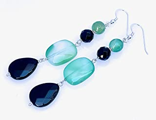 Orecchini con agata verde e onice nero, pendenti lunghi in argento 925, gioielli pietre naturali, bijoux fatti a mano