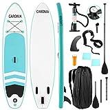 Caroma Planche de stand up paddle gonflable de qualité supérieure, pagaie réglable, pompe à main et sac à dos, plateau antidérapant, accessoires complets, divertissement de l'eau pour jeunes adultes