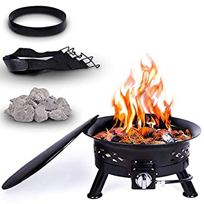 Project One Portable Outdoor Propane Fire Pit with Cover, Carry Kit, & Lava Rocks, 24-Inch Diameter 58,000 BTU, Cross Pattern