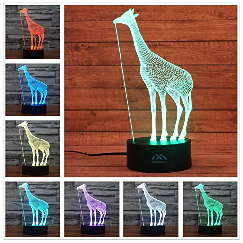 Giraffe 3D Night Light 7 Color LED Touch Table Desk Lamps Energy Saving Animal Lights Fashion Creative Home Decoration Gift