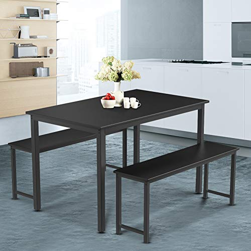 Dining Table and 2 Bench Chairs for 4 People Use Dinner ,Kitchen Breakfast Table, Ship from UK with 3-5 Working Days, 47.2'' X 27.6'' X 29.5''