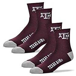 For Bare Feet Men's Quarter Socks-Texas A&M Aggies-Large-Maroon-2 Pack