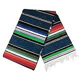 Mexican Serape Blanket   Multicolor Saltillo Blanket - Mexican Style Blanket, Striped Throw Blanket, Authentic Classic Hand Woven Handmade Blanket from Mexico (Blue 100%Cotton)