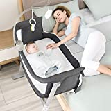 Kidsclub Baby Bassinet Bedside Sleeper with 2 Replaceable Sheets, Bedside Bassinet with Toys & Music Box for New Born, Standalone Side-Sleeper for Infants, 9 Height Adjustable Nursery Bed