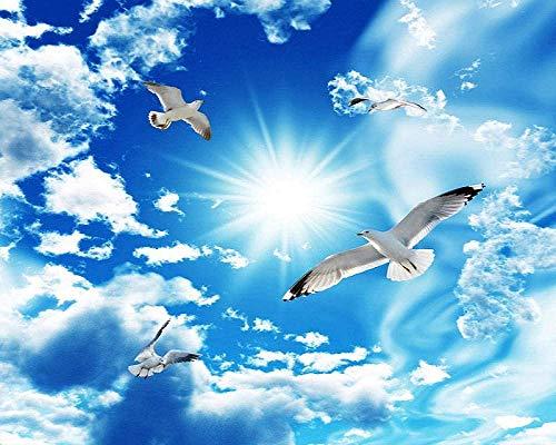 Fototapete 3D Effekt Tapete Blauer Himmel Weiße Wolken Himmel Möwe Decke Vliestapete 3D Wallpaper Moderne Wanddeko Wandbilder