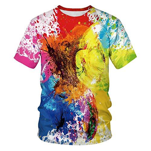3D Gedrucktes T-Shirt,Männer Casual Rundhals Ausschnitt Kurze Ärmel Abstrakte Doodle Grafik Frauen Sommer Lustige T-Shirt Atmungsaktive Tops Geeignet Für Mode Unisex Teens Urlaub Party, X, Große