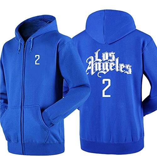 DDOYY Leonard # 2 Clippers Chaqueta de baloncesto estilo chaqueta de baloncesto con cremallera larga manga larga con capucha para deportes al aire libre interior azul-XL