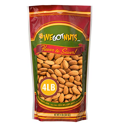 We Got Nuts Jumbo California Almonds 64oz (4 Pounds) (Whole, Naturel, Non Gmo, Shelled, Unsalted)