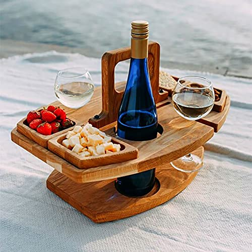 DENGZI Wooden Outdoor Folding Picnic Table with Wine Holder Camping Table Folding Garden Table