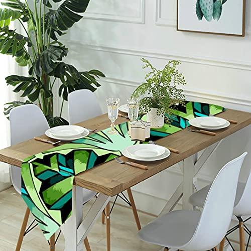 Reebos Camino de mesa de lino para aparador, caminos de mesa de cocina Art Deco Jade para cenas de granja, fiestas de vacaciones, bodas, eventos, decoración – 33 x 70 pulgadas