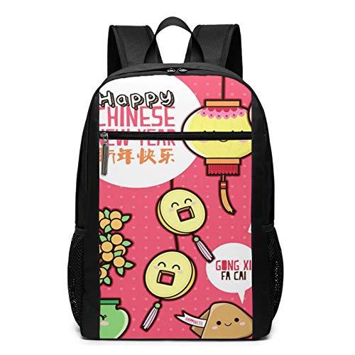 Schulrucksack Orange Keks Neujahr, Schultaschen Teenager Rucksack Schultasche Schulrucksäcke Backpack für Damen Herren Junge Mädchen 15,6 Zoll Notebook