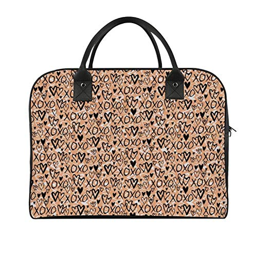 Yeuss Outdoor Travel Tote Xoxo Pattern With Group Of Doodle Heart Shapes And Xoxo Lettering Calligraphy Girl Outdoor Storage Convenient Boy Shoulder Bag