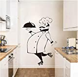 Pegatina De Pared De Chef Divertido, Pegatina De Vinilo Impermeable Para Pared, Decoración Del Hogar, Calcomanía De Pared, Decoración De La Casa, Azulejo De Cocina, Pared De Vidrio 56X80Cm