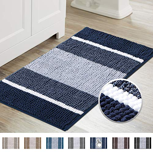 Super Cozy Shag Chenille Bath Rug, Gradient Navy Stripe Pattern Machine Washable Microfiber Plush Bathmat, Ultra Absorbent Mat with Non Slip Backing for Bathroom Landry, (20×32 inch, Navy)