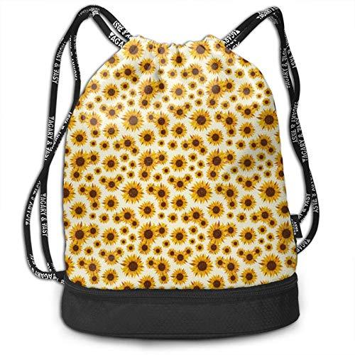 XCNGG Golden Sunflower Swirl Drawstring Bag für Sport Gym Hochleistungsrucksack mit Fach Cinch Bag String Pouch für Jungen Mädchen Teens Travel Beach Wandern