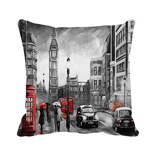 N\A Housse de Coussin Peinture à l'huile sur Toile Street View de Londres Big TaieHousse de Coussin taie d'oreiller carrée décorative pour la Maison