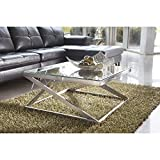 Signature Design by Ashley – Coylin Glass Top Square Coffee Table, Brushed Nickel Finish
