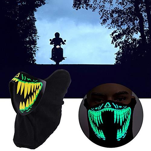 LED Light Up Glow Mscara Disfraz Brillante Mscaras de Esqueleto Fresco Cosplay Grimace Festival Decoraciones(Yellow)