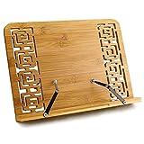 Leggio per Libri Leggio da Tavolo per Libri di Ricette da Cucina Legno Supporto per Libri Musicale Studio Regolabile Leggio Letto in Bambù per iPad Tablet Portatile Multifunzionali per Uffici Scuole