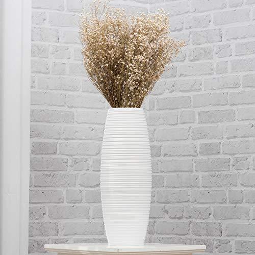 Leewadee Piccolo Vaso da Terra: Vaso Basso, Elemento Decorativo Fatto a Mano in Legno Esotico, Vaso per per Rami Decorativi, 41 cm, Bianco