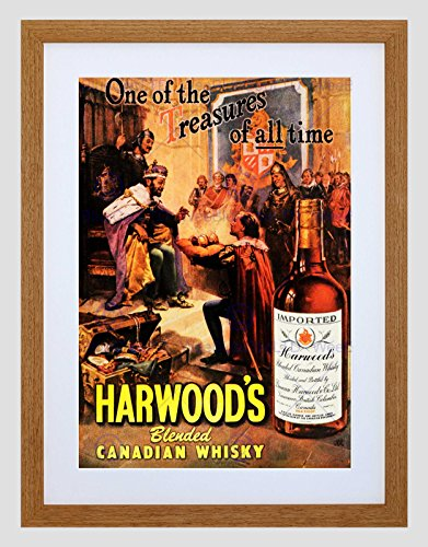 Wee Blue Coo Advertenties Drink Alcohol Canadese Whisky Harwood Treasure King Court Omlijst Muur Art Print