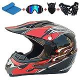 AKBOY 5 Pcs/Set Casco Niños Motocross Casco de Bicicleta Todoterreno Cascos de Moto Integrales...