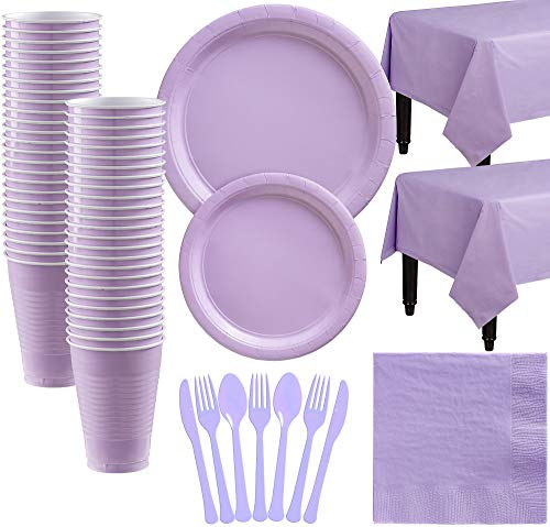 Party City Big Party Pack Lavender Paper Tableware Kit and Supplies for 50 Guests, Includes Table Covers and More