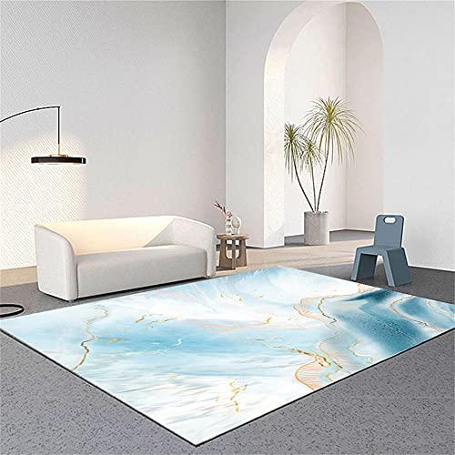 Alfombra Habitacion Niña Alfombra Acolchada Diseño gráfico Abstracto Minimalista Moderno Azul Dorado Dormitorio Juvenil 160X230cm