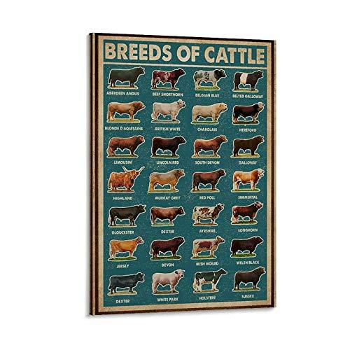 jiemao Retro-Poster mit grünen Rinderrassen im Retro-Stil, dekoratives Gemälde, Leinwand, Wandkunst, Wohnzimmer, Poster, Schlafzimmer, Gemälde, 30 x 45 cm