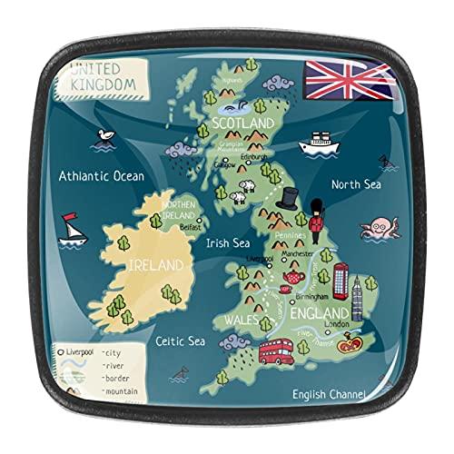 (4 piezas) pomos de cajón para cajón con tiradores de cristal para gabinete de armario, hogar, oficina, armario, Reino Unido, mapa, 35 mm