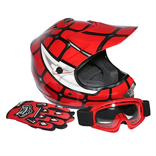 TCMT DOT Youth Kids Red Spider Net Motocross Off-Road Helmet MX Goggles+Gloves (L)
