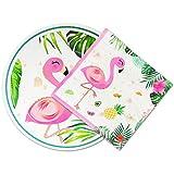 WERNNSAI 100 Piezas Platos and Servilletas de Flamencos - Suministros de Fiesta Hawaiana Luau Set de Vajilla Desechable Cena Platos de Almuerzo Servilletas Fiesta de Cumpleaños Baby Shower Boda