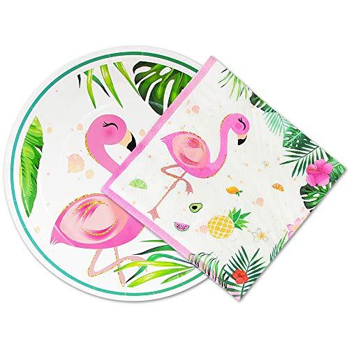 WERNNSAI 50 Stück Flamingo Teller und Servietten - Hawaiian Luau Partyzubehör Einweg Geschirr Set Abendessen Mittagessen Teller Servietten für Geburtstag Baby Shower Hochzeit Party