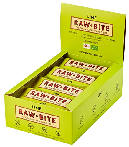 RAWBITE Bio Frucht-Nuss-Riegel LIME in der 12er Box - Vegan, glutenfrei & laktosefrei - Bio Energieriegel in der Großpackung - Fruchtriegel mit Limettensaft, 12er Pack (12 x 50 g)