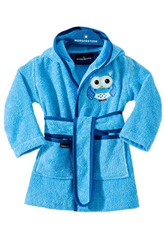 Morgenstern Kinderbademantel mit Eule und Kapuze (122/128, Blau)