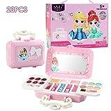 happygirr Juego de maquillaje de 23 piezas cosméticas para niñas, lavable, seguro, no tóxico, set de belleza para niños