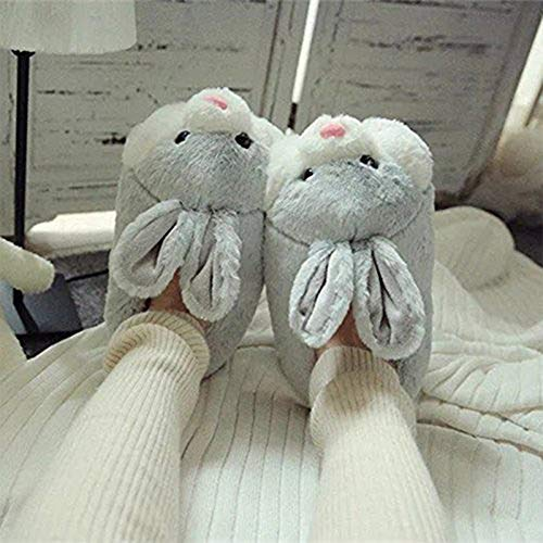 Product Image 2: Caramella Bubble Classic Bunny Slippers Cute Plush Animal Rabbit Slippers Christmas Slippers for Women Grey
